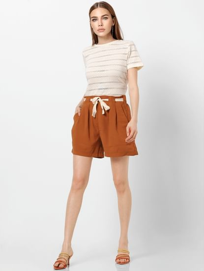 Brown High Rise Belted Shorts