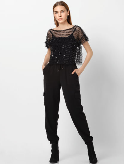 Black Sequinned Cropped Top