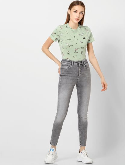 Grey High Waist Washed Skinny Fit Jeans