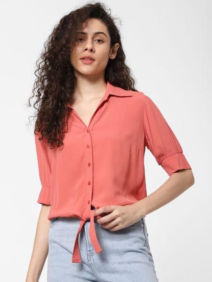 Pink Front Tie Shirt