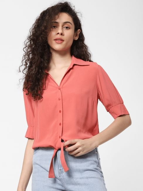 Pink Front Tie Shirt