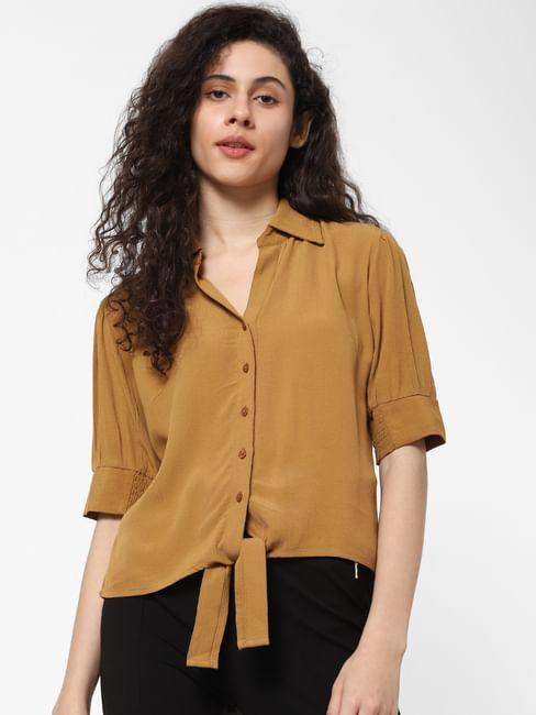 Brown Front Tie Shirt