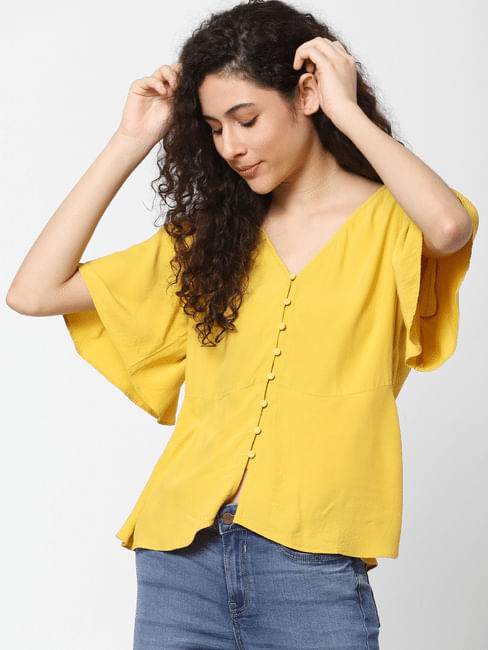Yellow Flared Sleeves Top