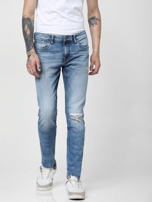 Light Blue Low Rise Knee Ripped Glenn Slim Jeans