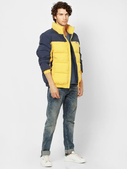 Yellow Colourblocked High Neck Puffer Jacket