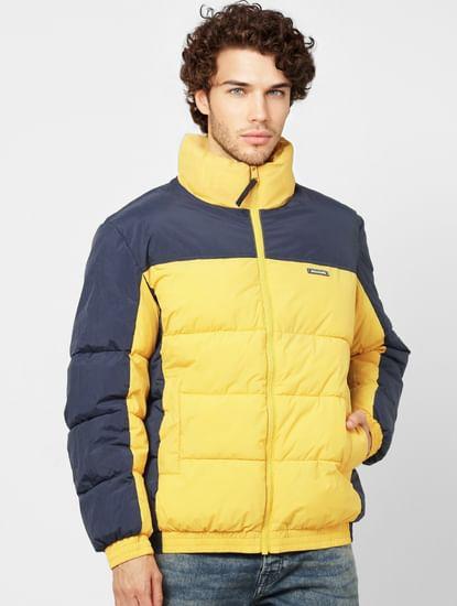 Yellow Colourblocked High Neck Puffer Jacket