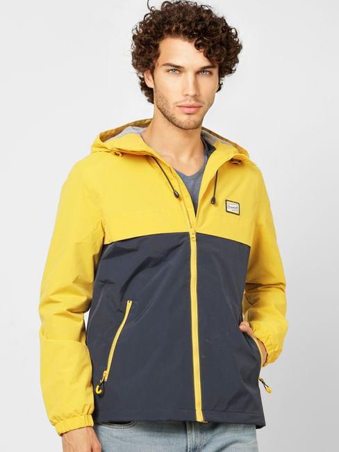 Yellow Colourblocked Hooded Jacket