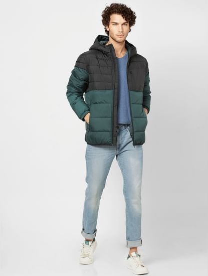 Green Colourblocked Hooded Puffer Jacket