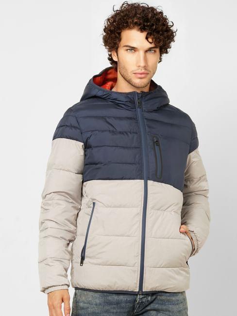 Grey Colourblocked Hooded Puffer Jacket