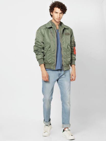 Green Zipped Pocket Bomber Jacket