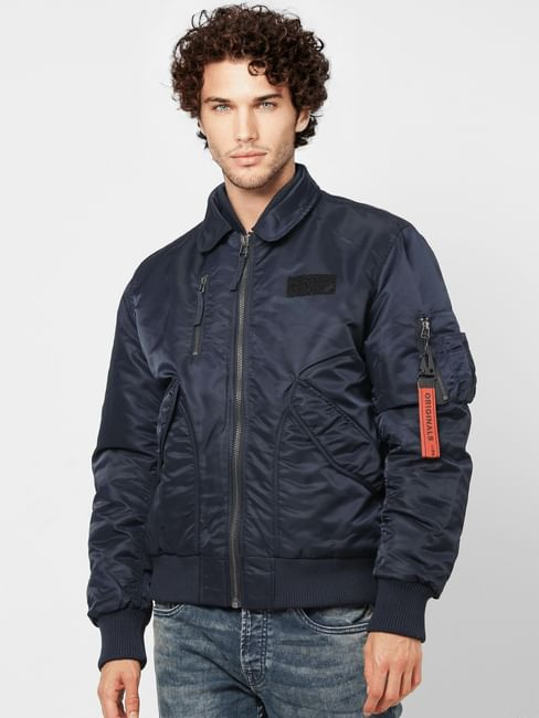 Navy Blue Zipped Pocket Bomber Jacket