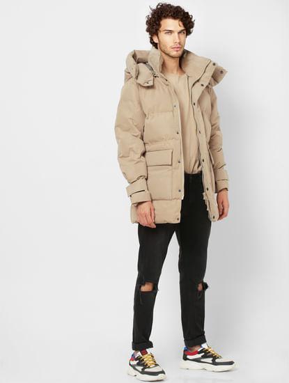 Beige Hooded Long Puffer Jacket