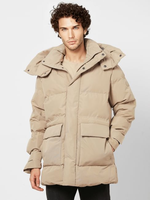Beige Hooded Long Puffer Jacket