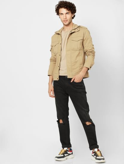 Beige High Neck Worker Jacket