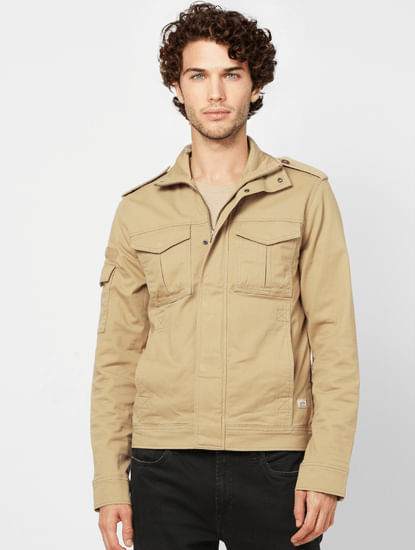 Beige High Neck Worker Jacket