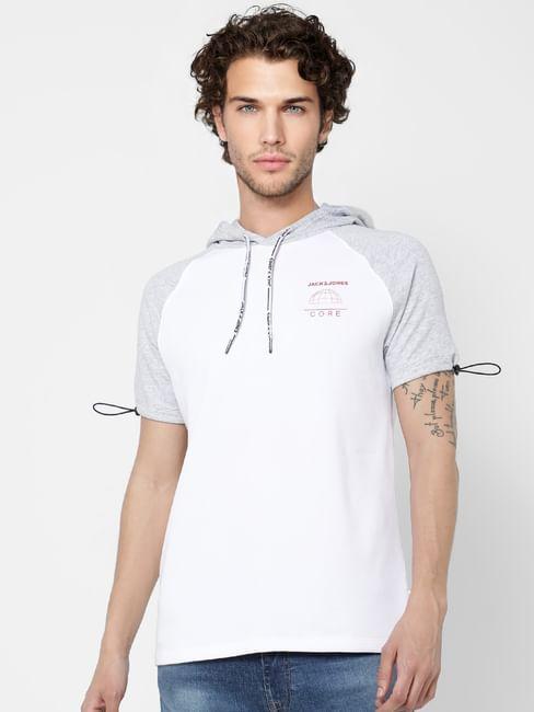 White Colourblocked Hooded Sweatshirt