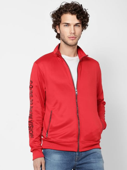 Red Embossed Text Sweat Jacket