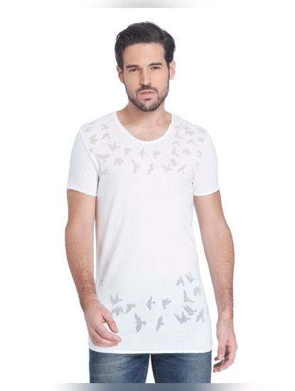 White Bird Print Slim Fit T-Shirt
