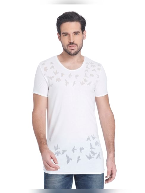 White Bird Print Slim Fit T-Shirt
