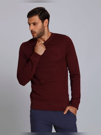 Maroon Text Print Crew Neck Sweatshirt
