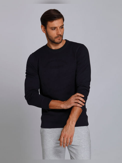 Blue Text Print Crew Neck Sweatshirt