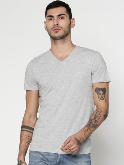 Grey Slim Fit V-Neck T-Shirt