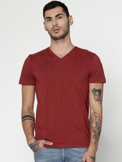 Red Slim Fit V-Neck T-Shirt