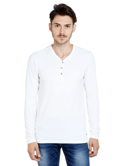 White Slim Fit Henley T-Shirt