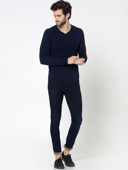 Dark Blue Full Sleeves Henley T-Shirt