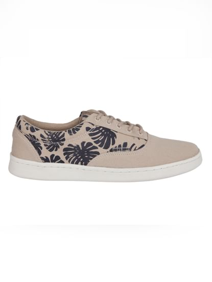 Beige Tropical Print Canvas Trainers