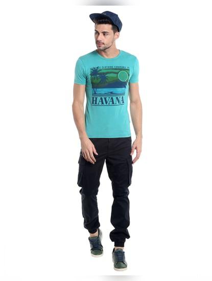 Teal Blue Havana Print Crew Neck T-Shirt