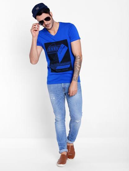 Electric Blue Graphic Print V-Neck T-Shirt