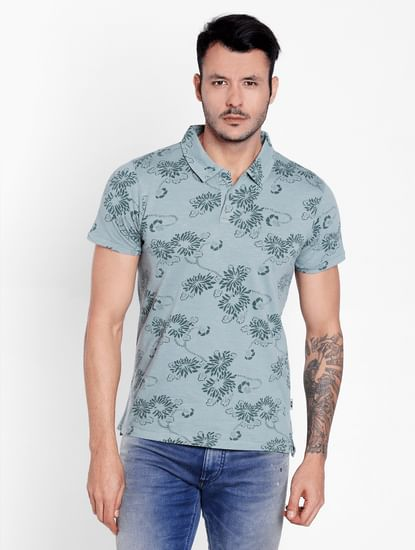 Green Floral Print Polo Neck T-Shirt
