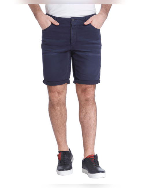 Navy Blue Slim Shorts