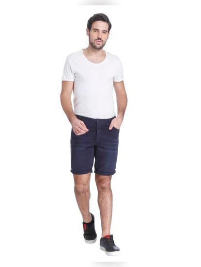 Navy Blue Slim Shorts