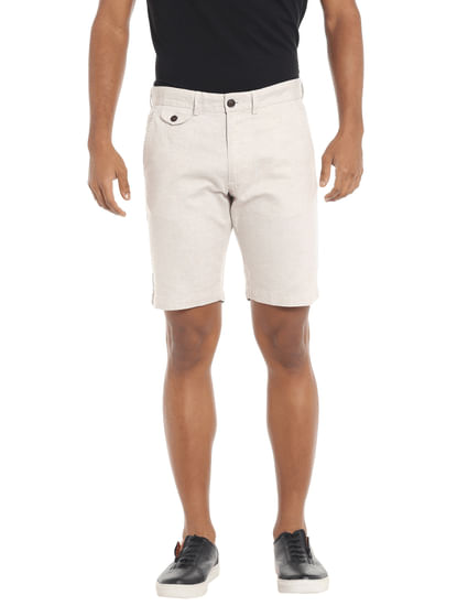 Off White Chino Linen Shorts