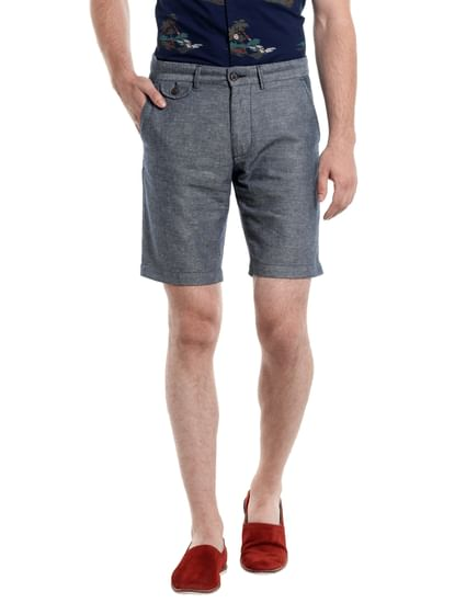 Grey Chino Linen Shorts