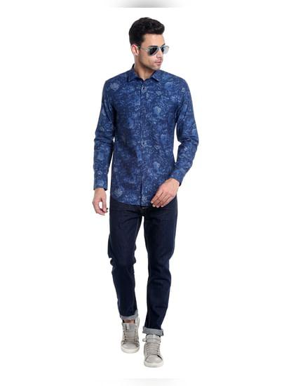 Dark Blue Denim Printed Slim Shirt