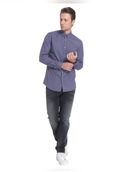 Blue All Over Print Slim Fit Shirt
