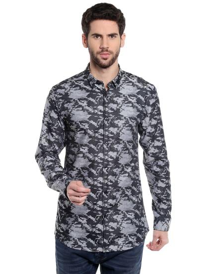 Black Printed Slim Fit Shirt