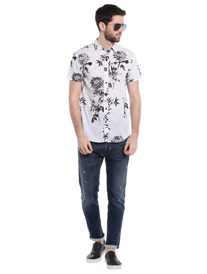 White Floral Print Slim Fit Shirt