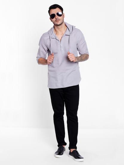 Grey Linen Hoodie Shirt