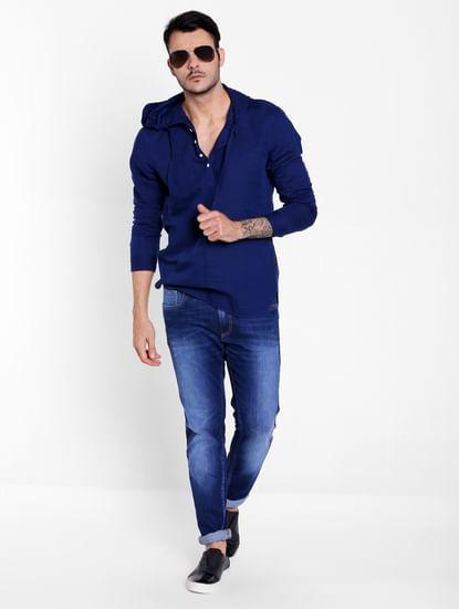 Dark Blue Linen Hoodie Shirt