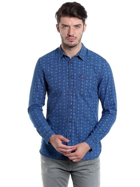 Blue Printed Slim Fit Shirt