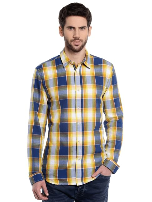Yellow Check Slim Fit Shirt