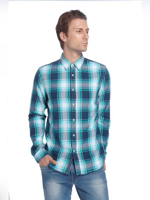 Turquoise Check Slim Fit Shirt