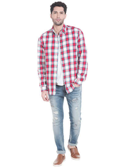 Red Check Slim Shirt