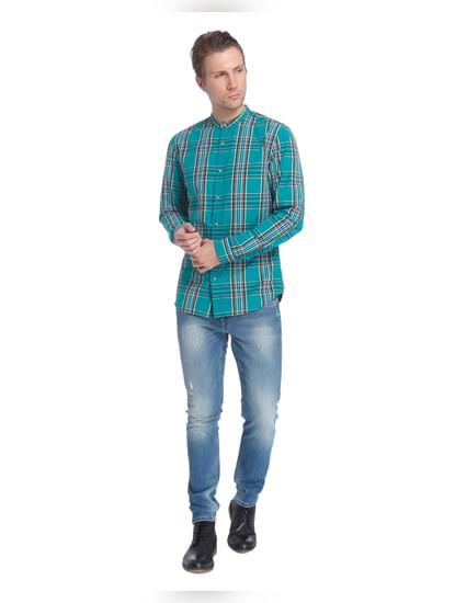 Turquoise Check Shirt