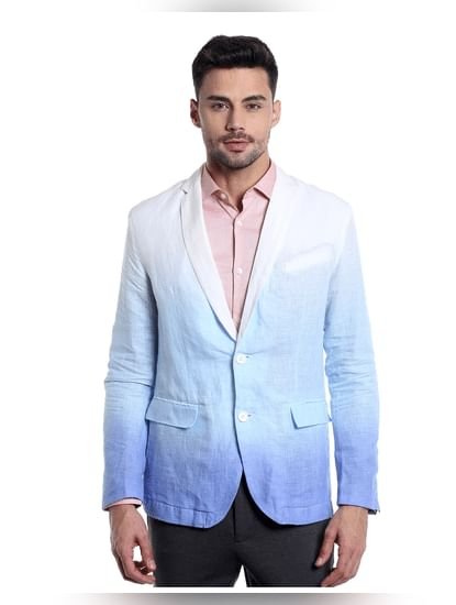 Light Blue Ombre Linen Blazer