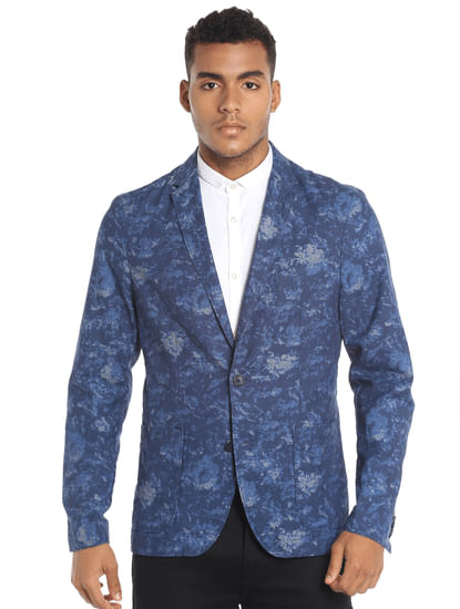 Dark Blue Printed Blazer